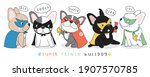 cute doodle french bulldog... | Shutterstock .eps vector #1907570785