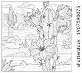 blooming cactus in the desert... | Shutterstock .eps vector #1907590075