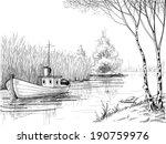 art,beautiful,birch,bird,black,boat,calm,cattail,delta,drawing,environment,fishing,free,fresh,graphic