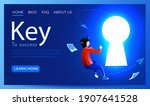 people fly around shiny keyhole.... | Shutterstock .eps vector #1907641528