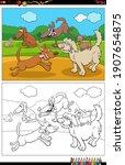 cartoon illustration of playful ... | Shutterstock .eps vector #1907654875