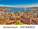 Geneva skyline cityscape, French-Swiss in Switzerland. Aerial view of Jet d