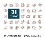 pet and vet vector icon set....