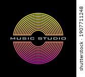 music disc logo for a recording ...   Shutterstock .eps vector #1907711248