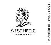 greek god head wearing laurel...   Shutterstock .eps vector #1907713735