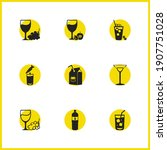 beverages icons set with white...