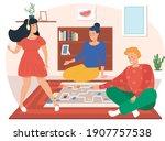 girl with headphones listening...   Shutterstock .eps vector #1907757538