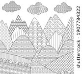 cloudy mountain landscape with... | Shutterstock .eps vector #1907784322