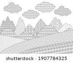 mountain landscape with fields... | Shutterstock .eps vector #1907784325