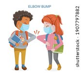 girl mask and a boy mask greet... | Shutterstock .eps vector #1907797882