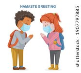 girl mask and a boy mask greet... | Shutterstock .eps vector #1907797885