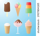 set with various types of ice... | Shutterstock .eps vector #1907804185