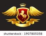 unicorn coat of arms. golden... | Shutterstock .eps vector #1907805358