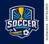 soccer tournament badge design... | Shutterstock .eps vector #1907815825