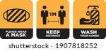 wear mask  keep distance  wash... | Shutterstock .eps vector #1907818252