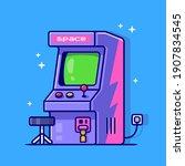 arcade machine cartoon vector... | Shutterstock .eps vector #1907834545