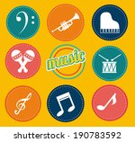 music design over yellow... | Shutterstock .eps vector #190783592