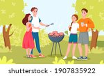 happy couple people at outdoors ... | Shutterstock .eps vector #1907835922