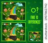 kids game find ten differences. ... | Shutterstock .eps vector #1907862742