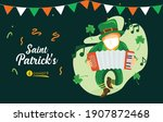 leprechaun with medical mask at ... | Shutterstock .eps vector #1907872468
