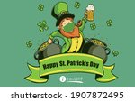 leprechaun with medical mask at ... | Shutterstock .eps vector #1907872495
