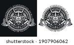 viking vintage round emblem... | Shutterstock .eps vector #1907906062