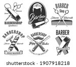 barber shop vector signs and...   Shutterstock .eps vector #1907918218