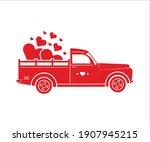 valentines truck vector....   Shutterstock .eps vector #1907945215