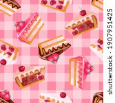 seamless pattern of pink and... | Shutterstock .eps vector #1907951425