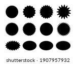 starburst stickers. black... | Shutterstock . vector #1907957932