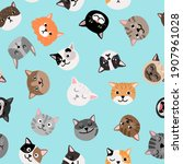 cats characters pattern. cute... | Shutterstock . vector #1907961028