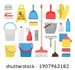householding cleaning tools.... | Shutterstock . vector #1907963182