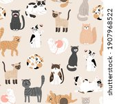 kitty seamless pattern. color... | Shutterstock . vector #1907968522