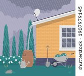 rainwater rooftop harvesting... | Shutterstock .eps vector #1907979145