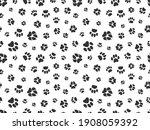 pet paw pattern. animal... | Shutterstock . vector #1908059392