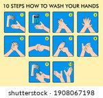 10 step wash your hands... | Shutterstock .eps vector #1908067198