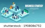 vector of an open space office...   Shutterstock .eps vector #1908086752