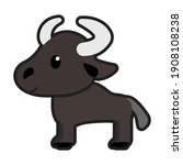buffalo cartoon character... | Shutterstock .eps vector #1908108238