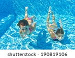 happy kids swim underwater in... | Shutterstock . vector #190819106