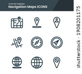 icon set of maps navigation... | Shutterstock .eps vector #1908201175