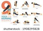 infographic 8 yoga poses for... | Shutterstock .eps vector #1908295828