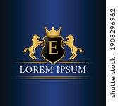 E Logo Retro Golden Crest With...