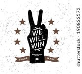 vintage label with we will win ( T-Shirt Print )