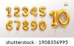 metallic golden number balloons ... | Shutterstock .eps vector #1908356995