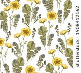 floral background with yellow... | Shutterstock .eps vector #1908412162
