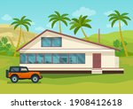 house and suv car on the...   Shutterstock .eps vector #1908412618
