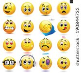 vector set of smiley icons with ...   Shutterstock .eps vector #190844732