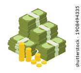 big pile of cash money and some ... | Shutterstock .eps vector #1908494335