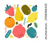 set of hand drawn fruits and...   Shutterstock .eps vector #1908586435