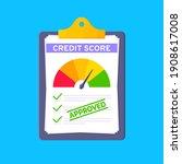 approved credit score gauge...   Shutterstock .eps vector #1908617008
